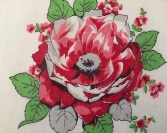 Vintage Handkerchief  / Tudor Rose