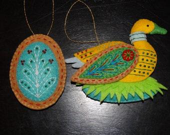 Twelve Days of Christmas Goose-A-Laying Felt Ornament