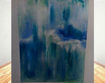 SOLD!! Blue Abstract original Painting, wall art, landscape, wall decor, mixed media, abstract