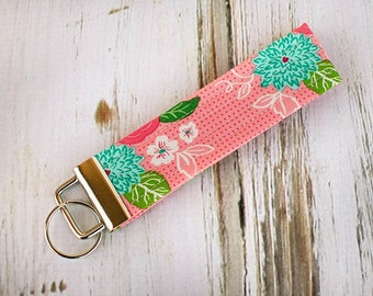 Quilted Fabric Key Fob, Key Chain, Key Holder -  Rosie Pink