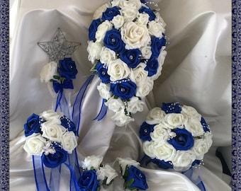 Wedding Flowers Royal Blue & Ivory wedding bouquets with butterflies, Brides, Bridesmaids, Flowergirls etc