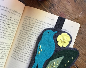 Turquoise Wool Felt Bird Bookmark