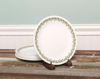 1 Corelle Plate 8.5 Inch Round Crazy Daisy Spring Blossom- Corelle Livingware by Corning-Corningware-Green Flower Daisy-Vintage Plate