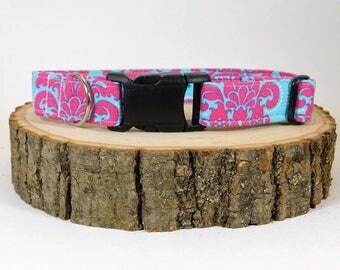 Dog Collar/ Pink and Blue Dog Collar/ Bright Dog Collar/ Dog Accessories/ Fabric Dog Collar