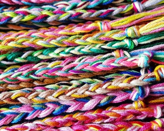 New! Handmade! Wholesale lot of 100 MULTICOLOR Braided friendship bracelets