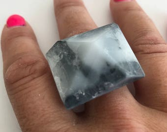 Resin Geometric Ring - Marble