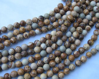 8MM PICTURE JASPER / gemstones beads jewelry making strands 15.5''