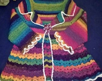 "Baby jacket crochet ""rainbow"". Crochet Rainbow Girl coat"