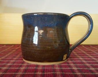 Floating blue pottery coffee mug,  pottery coffee mug,  pottery coffee cup,  ceramic coffee mug,  ceramic coffee cup,  large coffee mug