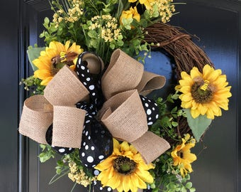 Spring Wreath - Sunflower Wreath - Spring Wreaths for Door - Front Door Wreaths - Summer Wreath - Mother's Day Wreath