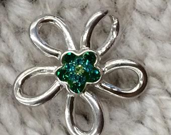 Sweet Green Stone Flower Pendant 925 Silver