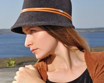 Ava Women's Hat, Felt Hat, Exclusive, Stylish, Elegant, Anthracite, Dark, Stylish Designermode, Millinery, Handcrafted, Handmade, Catwalk