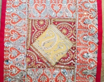 Decorative pillow cover cushion cover patchwork India sequins ethnic placemat wall hanging boho decor ethnic decor