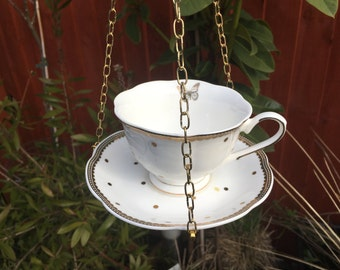 Gold polka dot and gold lace trim, scalloped tea cup bird feeder, China bird feeder, garden ornament, Mothers Day, Easter, tea light