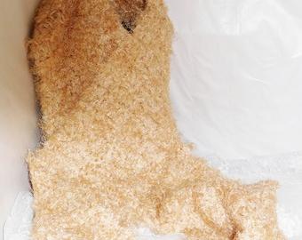 "Beige Shimmer Hand Crocheted Scarf - OOAK - Super Soft & Warm - Approx. 5'10"" Long x 9"" Wide"