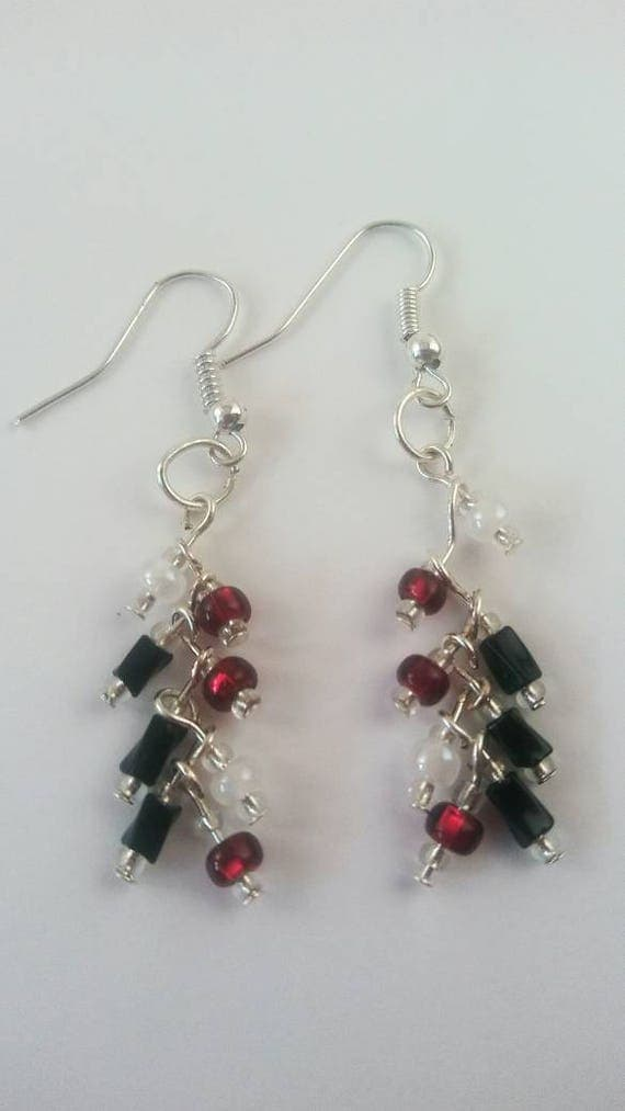Cluster earrings, dangle earrings, red and black cascading earrings, red and black jewelry collection, gift for her, unique jewelry gift,