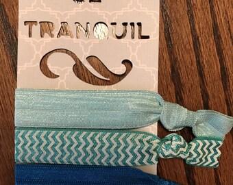 Elastic Ribbon Hair Ties - Blues / Chevron