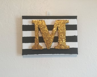 5x7 Glitter Letter Canvas