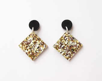 Dangly Diamonds in Gold Glitter and Black