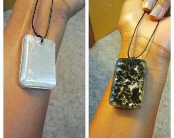 Two Sided Black and Silver Pendant