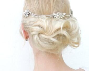 Hair Chain Headpiece Bridal Headpiece Swarovski Bridal Headpiece  Art Deco Headpiece Bohemian Headpiece Head Chain  Back Headpiece  1920s