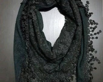 Stunning BLACK  scarf/Ladies designer/triangle scarf/lace and tassels/high quality/stylish/soft warm/ large scarf /shawl / exclusive designs