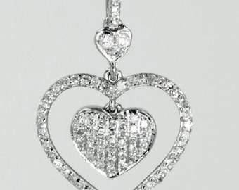 Solid White Gold Heart with Naural Diamonds