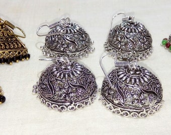 Sterling Silver & Gold Overlay Polished Earrings  4 Pieces