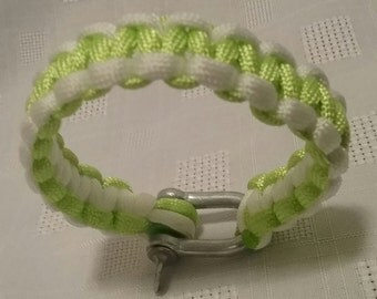 Lime Green and White Paracord Bracelet