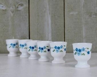 Egg cups, Vintage egg holder. ARCOPAL. Forget me not flowers. Veronica. Myosotis. Vintage egg cups. Vintage kitchen. Vintage arcopal. D426
