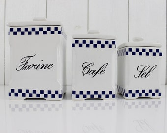 French canisters. Kitchen storage. French vintage. Kitchen decor. Kitchen canisters. Canister set. Ceramic canisters. White and Blue. E090