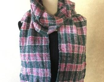 Pink Green scarf hand spun yarn