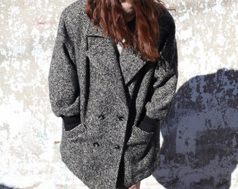 Vintage / Over Sized Black and Gray Tweed Coat