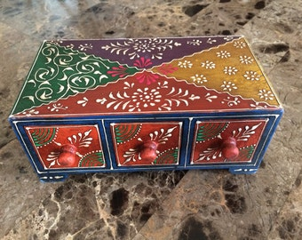 Jewelry Box 3 drawer wood painted handmade
