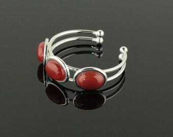 Silver Bracelet with Three Carnelian Gemstones