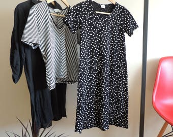 FREE SHIPPING - Vintage FINNWEAR black Cotton mini dress/tunic with white spots and side splits, size xs