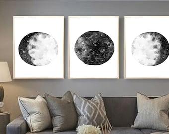 Moon Wall Art full moon art print. silver moon watercolor. boho wall art.