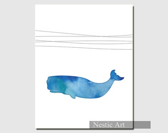 Blue whale, nursery wall art, printable watercolor