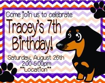 Dachshund Kids Birthday Invitation