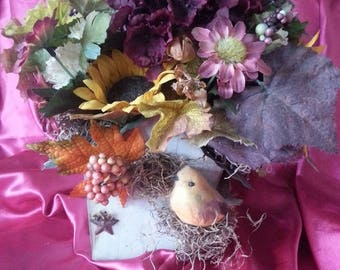 Bird House Flower Bouquet Centerpiece