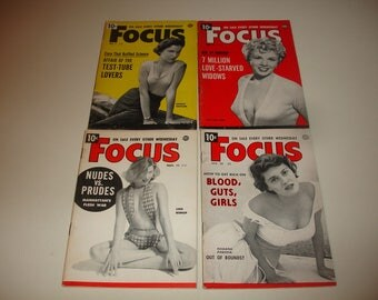 4 Issues FOCUS Mini Magazine~1953-1954~Entertainment~News~Pin-Ups~A Little Bit Of Everything