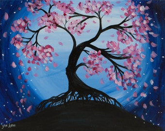 Blue Moon Japanese Cherry Blossom - Canvas Painting
