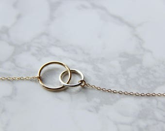 14k gold filled, sterling silver double circles necklace