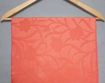 Coral Red Silk Fabric. Textured floral vintage kimono silk. Quilting Patchwork Fabric. Romantic feminine fabric. Fabric scraps