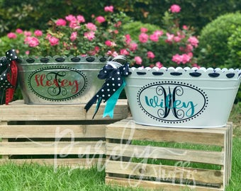 Personalized or Monogrammed Scalloped Oval Tub