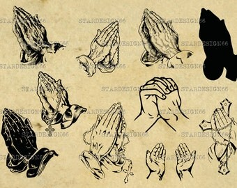 Digital SVG PNG JPG hands clasped, prayer, vector, silhouette, clipart, instant download