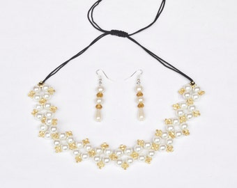Pearl and Gold Beaded Necklace/Earring Jewelry Set- crafted by Nepalese human trafficking victims