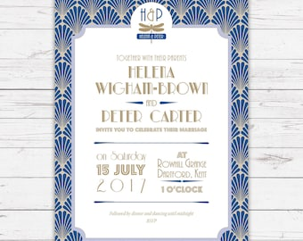 ArtDeco wedding invitation - beautifully designed, personalised, customisable and pre-printed with your guests names