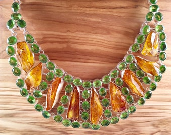 Natural Yellow Quartz and Green Peridot Statement Necklace