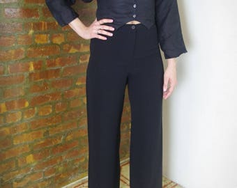 ARMANI black silk wide leg high waisted pants SZ 40
